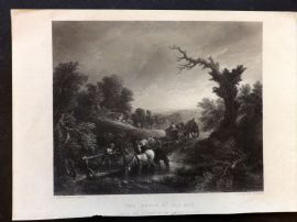 After Gainsborough C1860 Art Journal Print. The Brook by Way